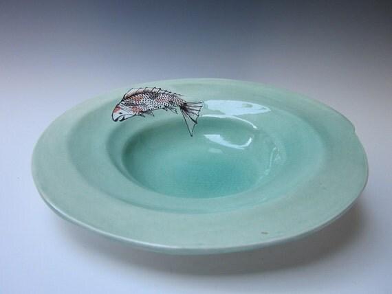 Fish bowl koi plat koi serving bowl fish plate ceramic for Koi fish bowl