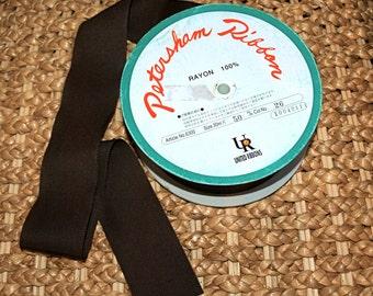 """Dark Chocolate Brown 2"""" Petersham Ribbon - 2 Yards"""