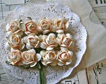 24 Handmade Paper Flowers, Vintage Cream