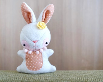 White Bunny plush - Bunny stuffed toy  - soft 3 dimensional animal - READY TO SHIP