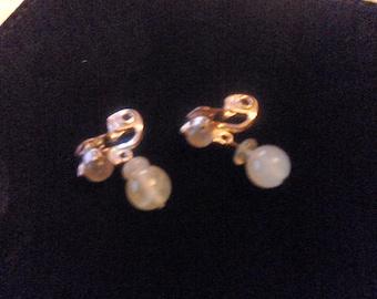 gift boxed vintage gemstone clip on  earrings 1940s