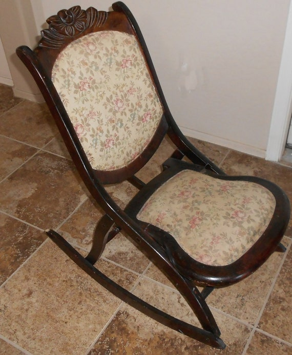 Items similar to Antique Rocking Chair Late 1800u0026#39;s Victorian Sewing Chair, Furniture, Vintage ...