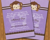 Purple Stripes and Monkey Baby Shower Invitations DIY Printable