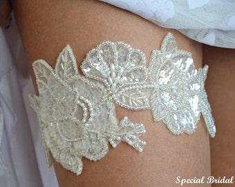 Ivory Bridal Garter, Lace Wedding Garter, Sequins Garter,Wedding Garter Set, Pearls Garter, Handmade Garter,Lingerie Garter ,Wedding Garters