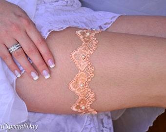 Pale Orange Garter, Lace Wedding Garter, Bridal Garter Set, Orange Bridal Garter, Orange Lace Garter, Orange Wedding Gift, Bridal Accessory