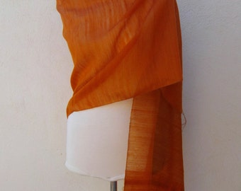Orange Silk Fabric Scarf