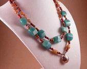 Amazonite Om Necklace/ Blue-Green Stone Statement Necklace/Double Strand Boho Chic Necklace