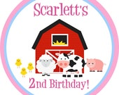 Farm Stickers - Pink Cute Red Barn, Cow, Pig, Sheep and Baby Chicks Farm Animals Personalized Birthday Party Stickers - 20 Round Labels