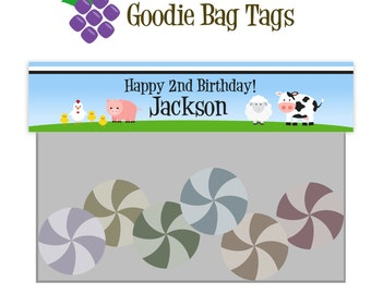 Farm Treat Bag Tags - Blue Polka Dot Farm Animals Personalized Birthday Party Double Sided Goodie Bag Labels - A Digital Printable File