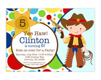 Cowboy Birthday Invitation - Colorful Red Blue Polka Dot Boy Sherrif Cowboy Personalized Birthday Party Invite - a Digital Printable File