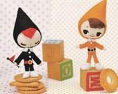 Retro Kawaii Style Miniature Felt Elves Fairies Doll Mascot Cute Plush Stuffed Toy Dolls pdf E PATTERN in Japanese and Titles in English
