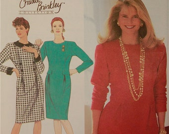 Dress Trim Variations- 1990's -Simplicity Christie Brinkley Collection Pattern 9851 Uncut  Sizes 10-12-14-16  Bust  32.5 to 38""