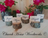45 rustic place card holders, tree card holders, place holders, rustic wedding decor, tree stump, rustic wood place card holder