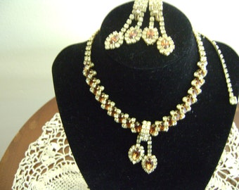 Vintage Topaz and Rhinestone Necklace Earring Set