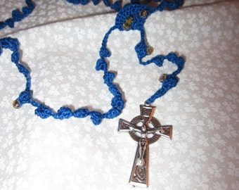 Navy blue rosary (#35) with yellow accent beads