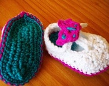 Crochet Pattern Baby T Strap Booties with Butterflies