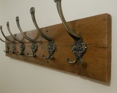 Handmade Reclaimed Wood Shabby Chic Rustic Coat and Hat Rack with 3,4,5,6,7,8,9 antique style iron hooks