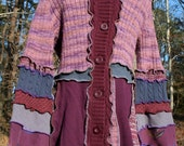 RESERVED FOR KAREN - Upcycled Purple Sweater Coat/Dress