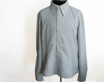 "SALE % Blue checked shirt ""Eric"""