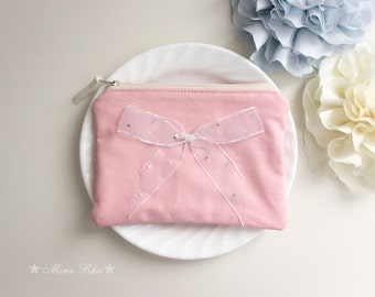 Clutch Purse  Zipper Pouch with Bow Cosmetic Bag Bridesmaid Clutch White bow Gift for Her Make up Bag Pink Wedding Bag