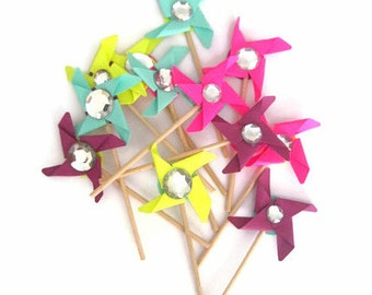 Pinwheel Cupcake Toppers,  Mixed Color Assortment, Summer Colors, Set of 12, Mint, Citron, Purple, Fushia Pinwheels