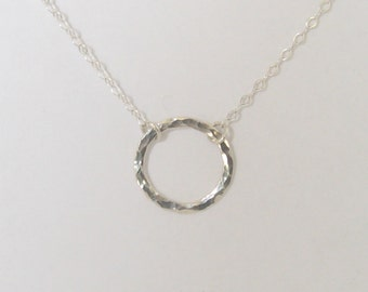Fine Silver Hoop Necklace Hammered Hoop Necklace Silver Circle Necklace