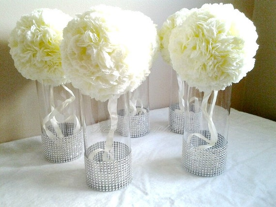 Centerpiece cylinder vases silver bling wedding