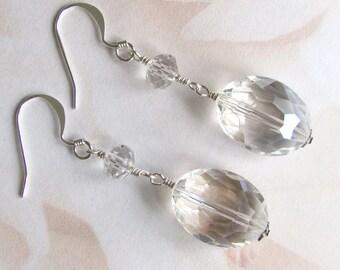 Crystal and Clear Quartz Dangle Earrings, Semi Precious Gemstone Earrings, Summer Earrings, Birthday Gift, Birthday Gift, Romantic Gift