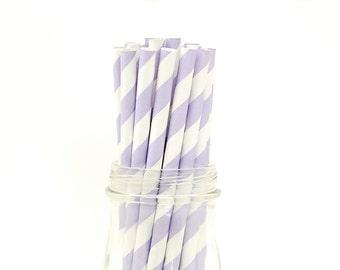 25 Light Purple Paper Straws Striped Lavender Retro Vintage Style Carnival Kids Wedding Birthday Bridal Baby Shower W/ Printable Flags