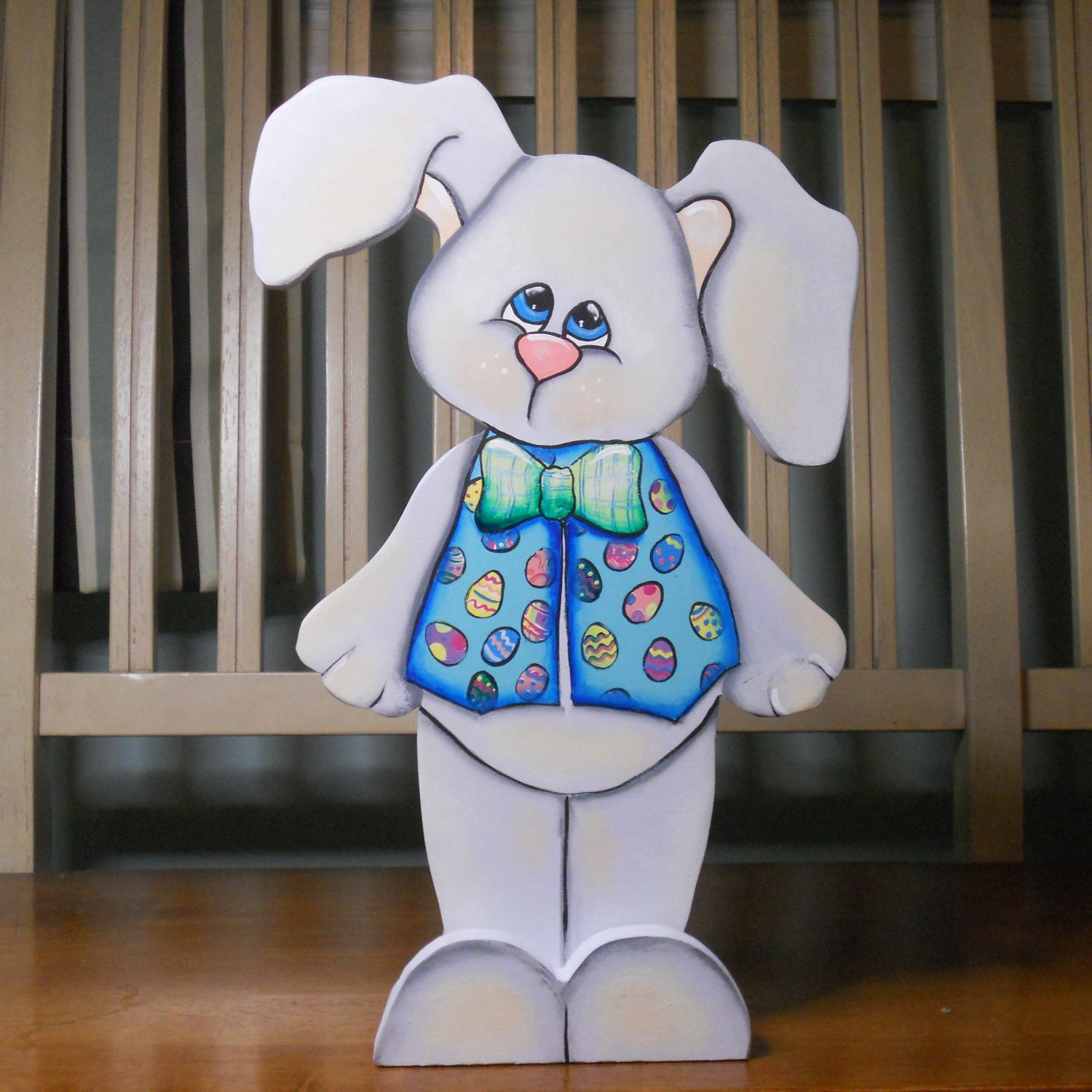 Painted Easter Bunny Wood Crafts