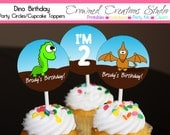 Dinosaur Birthday Cupcake Toppers, Stickers, or Party Circles - Boy's Dinosaur Party Printables