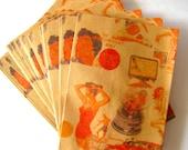 "CLEARANCE Kawaii Mini Flat Paper Bags ""Retro"" No Gusset. Made in Japan 25 bags"