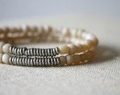 Creamy white wheat glass bracelet // Kenya silver heishi // tribal // rustic // minimal // eco // handmade // spring