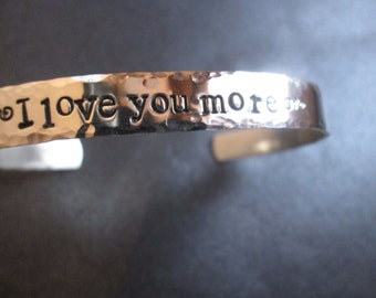 Solid sterling silver  I Love You More Hammered Edges  bracelet