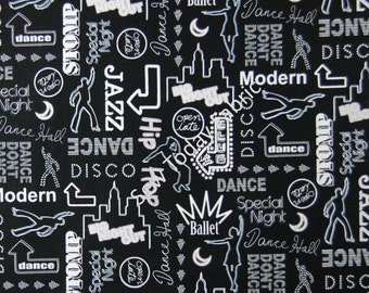 Clubbin Black/White - Luv To Dance Collection - Kanvas by Benartex 5794-12 (sold by the 1/2 yard)