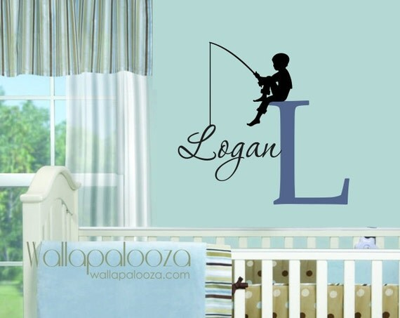 Fishing Wall Decal Boys Name Wall Decal By Wallapaloozadecals