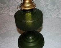 REDUCED - Green Hurricane Oil Lamp