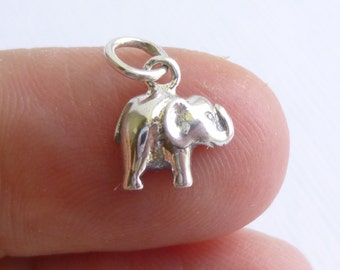 Sterling Silver Mini Elephant Charm -- 1 Piece -- 925 Sterling Pendant