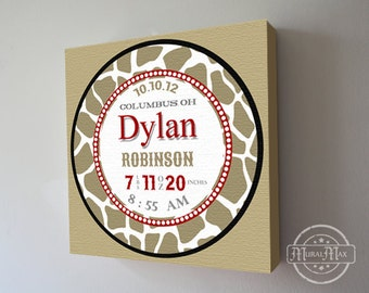 """Baby Birth Announcement Canvas Print 16"""" x16"""" ,Boys Nursery Canvas Art , Personalized Wall Hanging"""