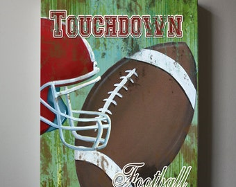 Football Art, Sports Nursery Canvas Art , Sports Nursery Decor,   Boys Room  Sports Art