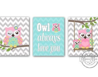 Owl Baby Girl Nursery Art Print Childrens Wall Art Baby Room Decor Kids Print Nursery Decor owl pink and aqua Room Decor