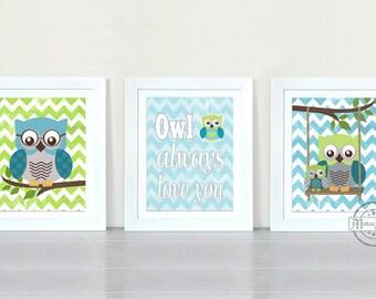 "Nursery Art - Owl Baby Boy Nursery Art Print - Childrens Wall Art -  Baby Room Decor Kids Print Nursery Decor 8""x10""owl Green Aqua"