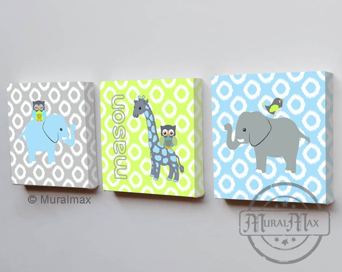 Elephant Nursery Boys Room Decor Three Piece Wall By MuralMAX