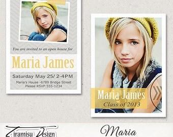 5x7 Senior Graduation Announcement Card Photoshop Template- Maria, INSTANT DOWNLOAD