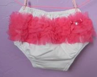 White with Dark Pink ruffle bloomers