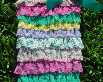 Jelly Bean Lace Romper- Small