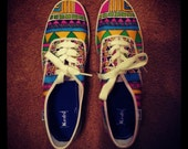 Tribal Keds Canvas Shoes - Womens Custom Canvas Shoes Size 5 6 7 8 9 10 11 - Handpainted Tribal Shoes - Aztec Shoes
