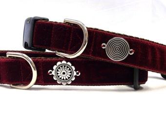 "1"" Adjustable Ruby Red Velvet Dog Collar"