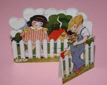Vintage 1940's or 1950's Stand Up Classroom Valentine's Day Card - Very Sweet
