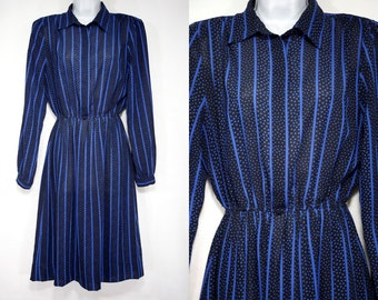 10 DOLLAR Sale---Vintage 80's B.G.B Ltd. Black & Blue Stripe Polka Dot Polyester Dress M